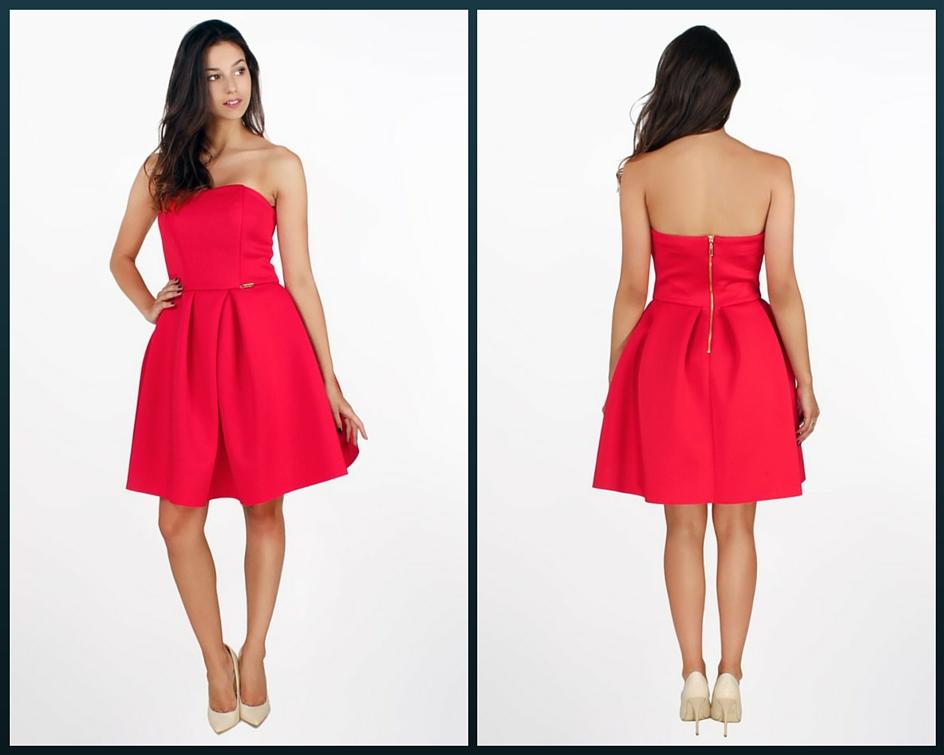 czerwona krótka sukienka na studniówkę