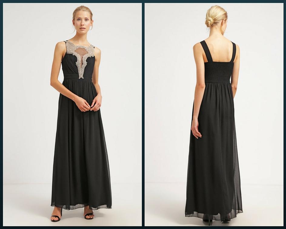 czarna długa sukienka na studniówkę