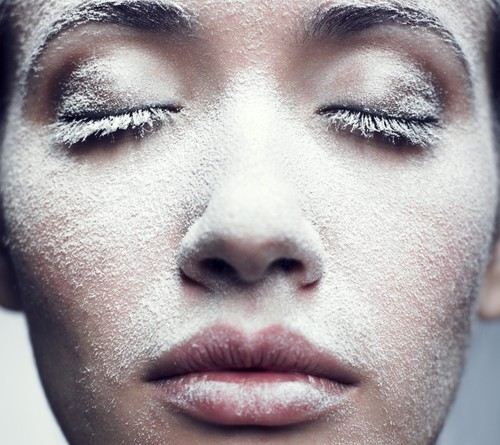 twarz w zimie