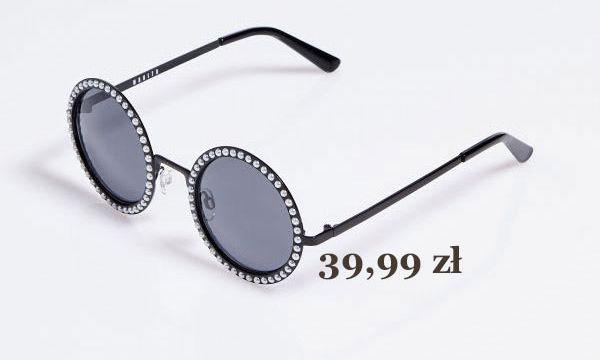 czarne, okrągłe okulary przeciwsłoneczne