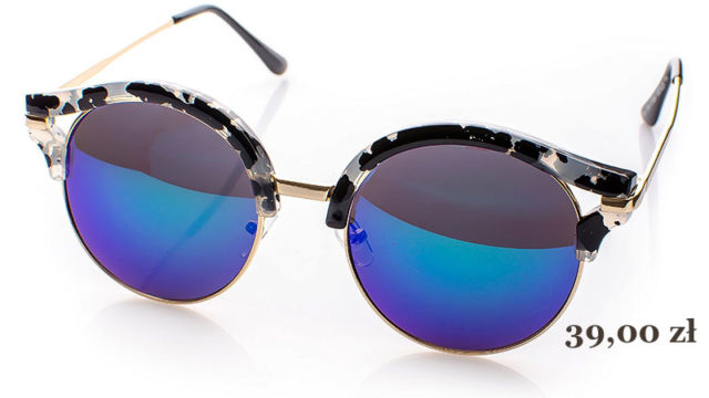modne, okrągłe okulary przeciwsłoneczne lustrzanki
