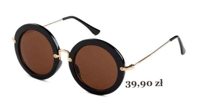 okrągłe czarne okulary przeciwsłoneczne